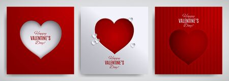 Valentines day set. Greeting card, poster, flyer, banner design collection. Cut  paper heart on white  red striped satin background, paper cut out art style. Vector illustration, layers isolated Иллюстрация