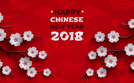 2018 chinese new year banner, red background with traditional sakura cherry flowers on tree branches, clouds, pattern oriental backdrop. Congratulation text, paper cut out style, vector illustration
