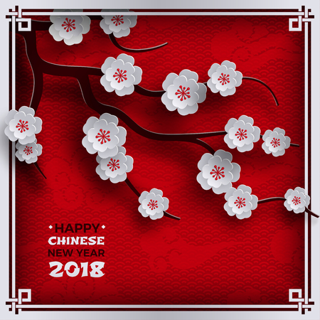 2018 Chinese New Year poster, red background with traditional sakura cherry flowers on tree branches, clouds, pattern oriental backdrop. Congratulation text, paper cut out style, vector illustration.