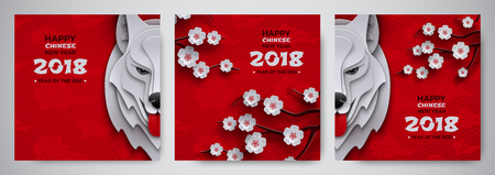 Set of Chinese New Year banner, symbol 2018 year of the dog, zodiac sign, sakura cherry flowers on pattern oriental background. Paper cut out design for greeting card, banner, vector illustration.