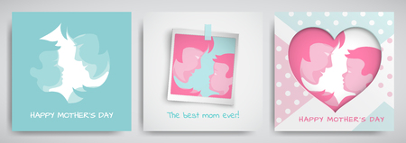 Set of green and pink greeting cards for mothers day. Women and baby silhouettes, congratulation text, cuted heart on dotted background, photo frame. Vector illustration, layers are isolated