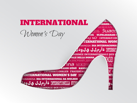 Vector illustration of womens day, 8 March greeting card with cuted silhouette of shoe on pink background with word cloud in different languages. Caption international womens day, layers are isolated
