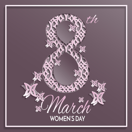Vector illustration of International womens day, 8 March holiday greeting card with floral and butterfly pattern design and brown background with paper cut ornament.
