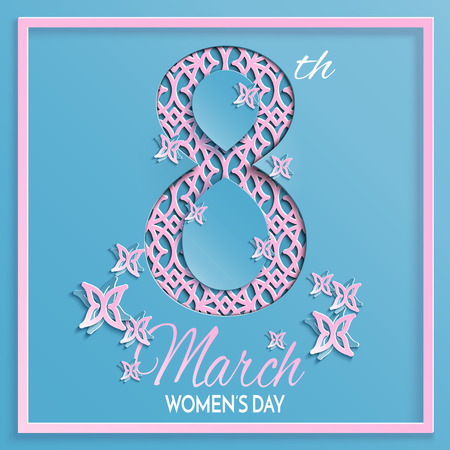 Vector illustration of International womens day, 8 March greeting card with floral and butterfly pattern design, background with paper cut ornament. Caption 8th march womens day, layers are isolated