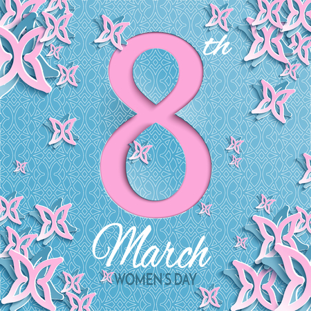 Vector illustration of International womens day, 8 March greeting card with floral and butterfly pattern pink design, blue background with ornament. Caption 8th march womens day, layers are isolated Ilustrace