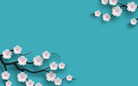 Floral background decorated blooming cherry flowers branch, bright blue backdrop for spring time season design. Vector illustration.