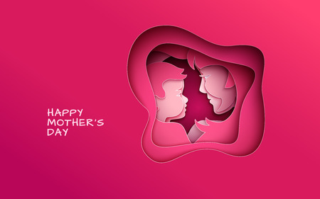Mothers day greeting banner, abstract cut  shape on red backdrop.   Paper cut style, vector illustration Иллюстрация