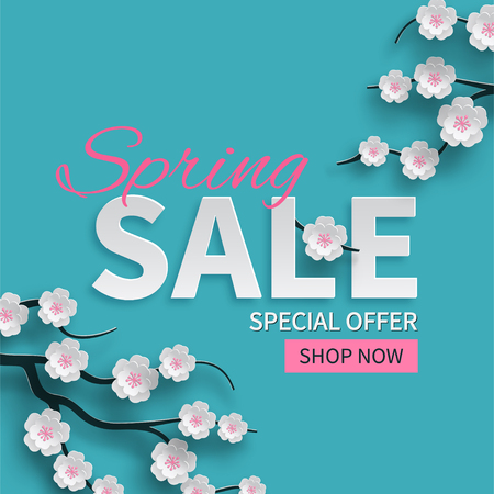 Spring sale floral banner with paper cut blooming pink cherry flowers on blue background. Vector illustration.