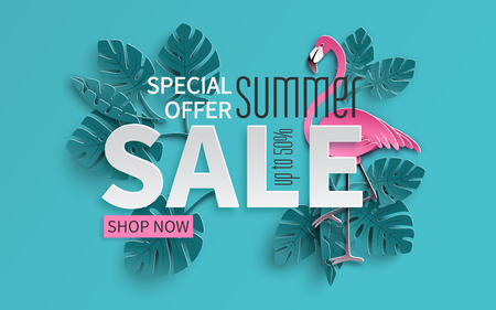Summer sale banner with paper cut flamingo and tropical leaves background, exotic floral design. Vector illustration. Illustration
