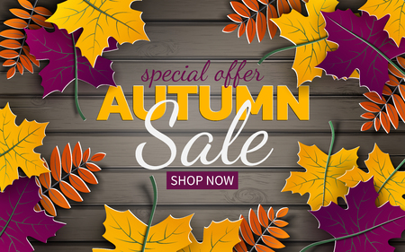 Autumn 3d sale banner, paper frame, colorful tree leaves on wooden background. Autumnal design for fall season greeting card, sale banner, poster, flyer, web site, paper cut style, vector illustration
