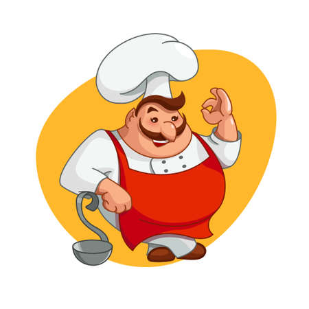 Chef illustration. Smiling man character on kitchen in chefs hat. Cooking tasty food, ok hand gesture sign, isolated on white background. Funny cute cartoon for menu, cook, flat style, vector
