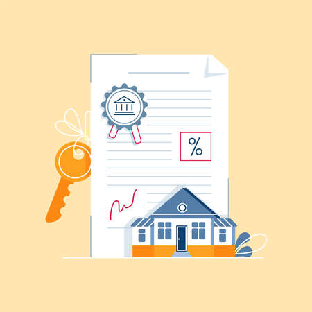 Mortgage contract concept. Signing paper agreement, document with house keys, bank stamp, mortgage rate. Simple illustration isolated on white background. Modern flat design with line texture, vector