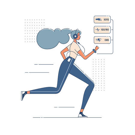 Jogging girl with smart watch, listening music in headphones. Young woman doing cardio fitness exercises. Active healthy person illustration. Character in modern flat art style for your design, vector Illusztráció