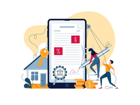 Mortgage online concept. Borrowers sign loan contract by e-signature. People affix an electronic signature to mortgage agreement. Digitally document on phone screen vector illustration, flat design