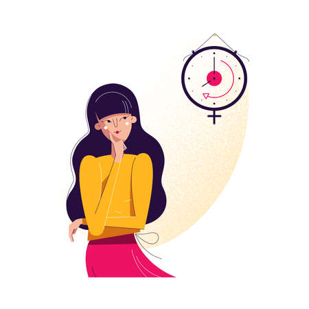 Biological clock concept. Woman looking at watch as symbol of biological life countdown. Feminine reproductive and fertility level decreasing with time, vector illustration in modern flat design