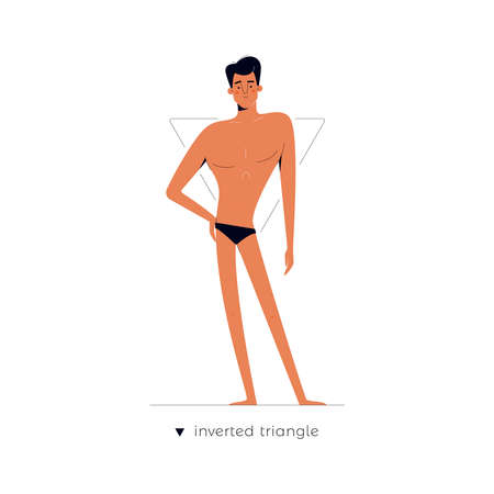 Male body shape - Inverted Triangle. One of human anatomy figure types cartoon dressed in underwear isolated on white background, man character vector illustration, graphic modern flat design