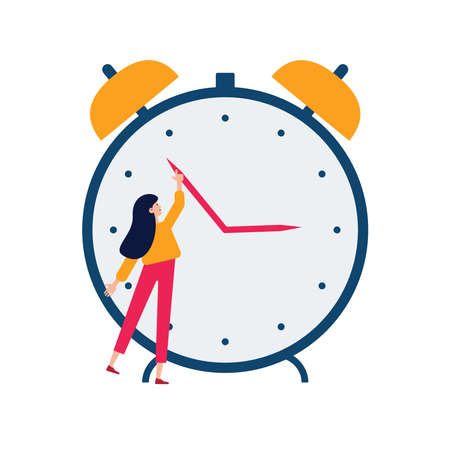 Daylight saving time concept. Young woman turn the hand of the clock. Turning to winter or summer time, alarm clock vector illustration. Character in modern flat art style for your small people design