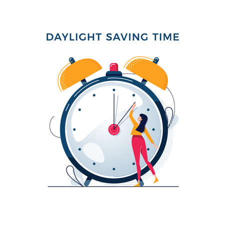 Daylight saving time illustration. Young woman turns the hand of the clock. Turning to winter or summer time, alarm clock vector design. Character in modern flat art style for your tiny people concept Illusztráció