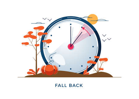 Daylight Saving Time concept. Autumn landscape with text Fall Back, the hand of the clocks turning to winter time. DST in Northern Hemisphere, USA time, vector illustration in modern flat style design Illusztráció