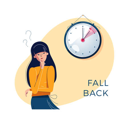 Daylight Saving Time. Confused woman is looking at the clock. Winter time concept. Text fall back. The hand of clock is turning to winter time. Character vector illustration, modern flat style design Ilustração