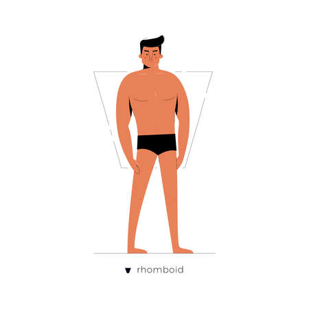 Male figure type - Rhomboid or Trapezoid. One of human anatomy body shapes cartoon dressed in underwear isolated on white background, man character vector illustration, graphic modern flat design