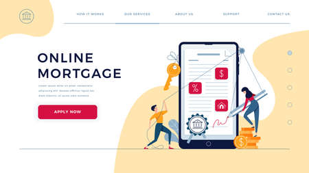 Mortgage online landing page. Borrowers sign loan contract by e-signature. People affix an electronic signature to mortgage agreement on phone screen. Web concept vector illustration, flat design
