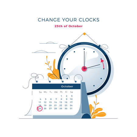 Daylight Saving Time ends concept. Calendar with marked date, text Change your clocks. The hand of the clocks turning to winter time. DST ends in Europe vector illustration, modern flat style design