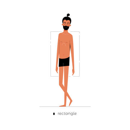 Male figure type - Rectangle. One of human anatomy body shapes cartoon dressed in underwear isolated on white background, man character vector illustration, graphic modern flat design