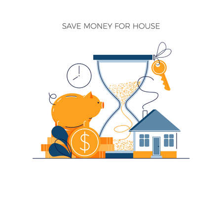 Money savings concept, invest money for private house buying. Toss gold coins in piggy bank. Future financial planning investment. Cash savings and save money vector illustration in modern flat style Illusztráció