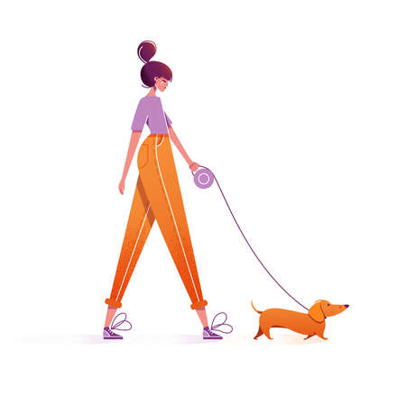 Woman walking with dog. Cute girl character walking with dachshund on leash outdoor. Leisure time spending with pet concept. Cartoon colorful vector illustration, modern flat style, isolated on white