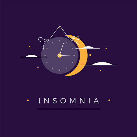 Insomnia illustration. Crescent, stars, clouds, clock symbolizes moon on dark blue sky landscape background at night. Sleep disorder or insomnia concept with text. Vector illustration in flat design