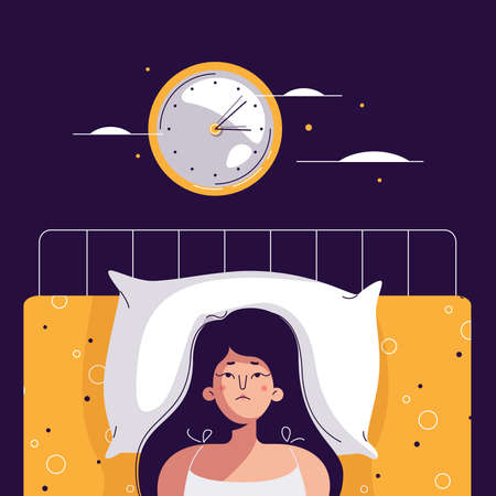 Insomnia woman. Unhappy, sad, tired girl lying in bed, trying to fall asleep. Female character suffers from insomnia. Sleep disorder, sleeplessness concept. Vector illustration in flat cartoon design