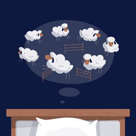 Cartoon sheep jumping over fence on night background. Trying to sleep, counting the sheep, insomnia, sleep disorder, sleeplessness, dream concept. Vector modern cute animal illustration in flat design