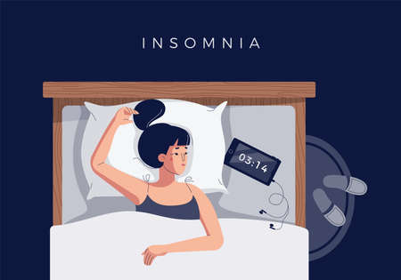 Sleepless girl suffers from insomnia, sleep disorder. Sad tired young woman lying in bed, trying to fall asleep. Blue light from smartphone screen. Character in flat cartoon style, vector illustration
