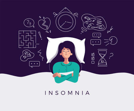 Young woman suffers from insomnia cause of mental problems, insomniac ideas. Girl lying in bed, thinking about deadline, upset event, can not relax. Character vector illustration in flat cartoon style Illusztráció