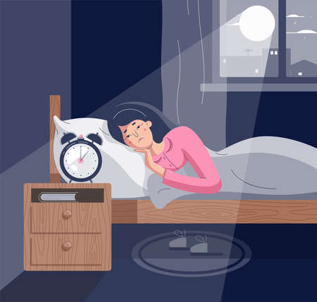 Sleepless woman lying on bed with open eyes. Girl character suffers from insomnia. Tired female insomniac trying fall asleep in night moonlighted bedroom. Vector illustration in flat cartoon style Stock fotó - 155702449
