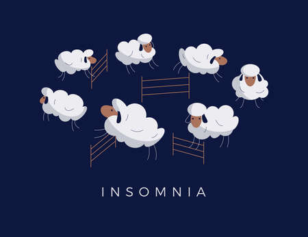 Cartoon sheep jumping over fence on night background. Insomnia, sleep disorder, sleeplessness, dream, trying to sleep, counting the sheep concept. Vector modern cute animal illustration in flat design