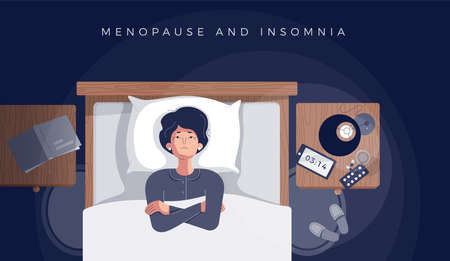 Senior woman suffers from insomnia, menopause symptom. Mature female insomniac lying awake in bed looking up trying to sleep. Menopause and insomnia concept. Vector illustration in flat cartoon style Illusztráció