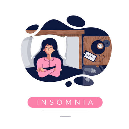 Sleepless girl suffers from insomnia, sleep disorder. Sad tired woman lying in bed with open eyes, trying to fall asleep in darkness night room. Cute character, flat cartoon style, vector illustration Illusztráció