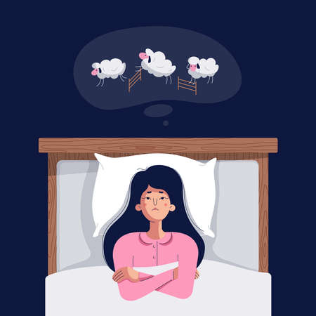 Insomnia concept. Cute young woman counting sheep. Sleepless girl lying in bed with open eyes, trying to fall asleep. Insomnia, sleep disorder vector illustration. Female character, flat cartoon style Illusztráció