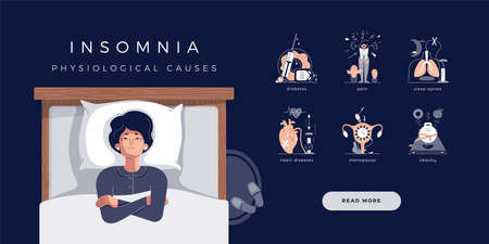 Mature senior woman suffers from insomnia. Vector illustration of main physiological causes: diabetes, sleep apnea, stress, depression, heart and cardiovascular diseases, menopause symptoms, obesity