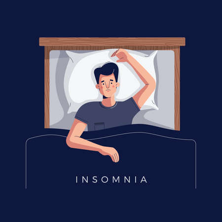 Sleepless young man suffers from insomnia, sleep disorder. Sad tired male character lying in bed with open eyes, trying to fall asleep. Space for text. Modern flat cartoon style, vector illustration