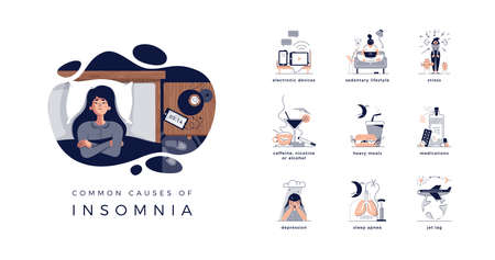 Young woman lying in bed, closed vector illustration. Insomnia causes: electronic devices, sedentary lifestyle or stress. Caffeine, nicotine, alcohol and heavy meal. Medications, jet lag, apnea