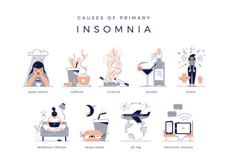 Causes of primary insomnia. Upset events, stress, depression, sedentary lifestyle, jet lag. Bad habits: electronic devices, heavy meal, alcohol, nicotine and caffeine. Flat vector illustrations set