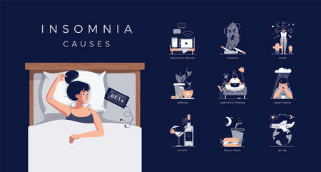 Insomnia causes vector illustration set. Sleepless young woman in bed. Reasons of insomnia: electronic devices, cigarette, coffee, alcohol, stress, depression, jet lag, heavy meal, sedentary lifestyle