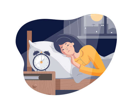 Woman suffers from insomnia. Sleepless girl lying on bed with open eyes. Tired insomniac character trying to fall asleep in night moonlighted bedroom. Closed vector illustration, flat cartoon style