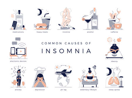 Common causes of insomnia: depression, jet lag, medications, sleep apnea. Bad habits like sedentary lifestyle, obesity, alcohol, smoking, coffee, heavy meal and electronic devices. Vector illustration Illusztráció