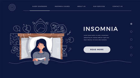 Insomnia concept for home page, website template. Young woman suffers from sleep disorder cause of mental problems, ideas. Girl thinking about deadline, upset events, flat cartoon vector illustration