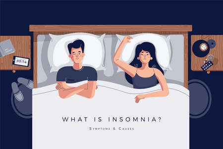 Insomnia vector illustration with a couple lying in bed together. Relationship problem or sleep disorder concept. Unhappy man and woman characters in night bedroom. Space for text. Flat cartoon style