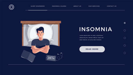 Insomnia concept for home page, landing or web site template. Young man suffers from sleep disorder. Male character lying on bed with open eyes, trying to fall asleep. Flat cartoon vector illustration